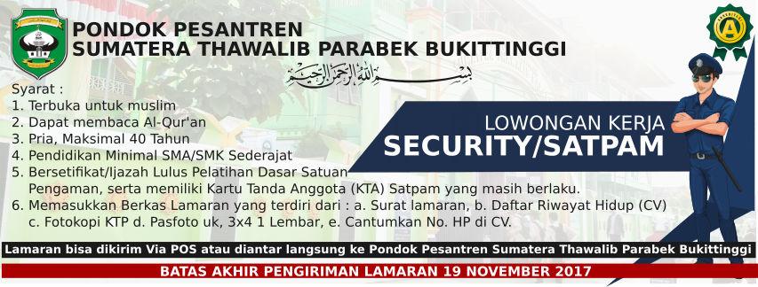 LOWONGAN KERJA SECURITY/SATPAM